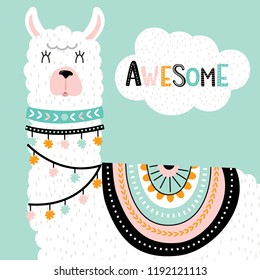 Cute llama with with awesome lettering and ethnic design elements vector illustration