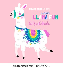 Cute llama birthday party invitation. Childish print for t-shirt, apparel, cards and nursery decoration. Vector Illustration