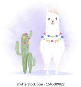 Cute Llama and cactus hand drawn cartoon illustration, watercolor background