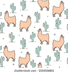 Cute llama and cactus seamless pattern design - Trendy llama illustrations with hand drawn elements - funny llama characters with cactus in endless pattern background