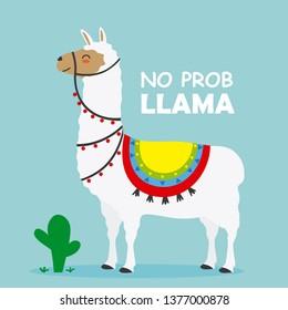 cute Llama card. Isolated vector