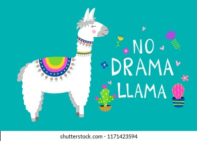 Cute llama card with No drama motivational quote. Cartoon alpaca. Vector illustration with llama for poster, card, textile, invitation etc.
