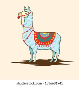 Cute llama cartoon illustration with my style, thanks for download :)