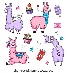 Cute llama characters set with doodles. Unicorn llama. Business llama and llama with a scarf. Vector illustration.