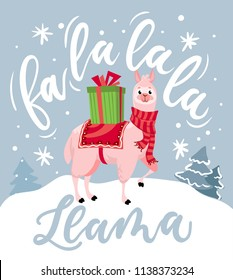 "Cute llama Christmas card with lettering inscription ""Fa la la la llama"". New Year greeting card."