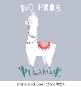 Cute Llama design with no prob llama motivational quote.