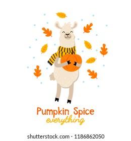 Cute llama fall illustration with pumpkin and leaves. Alpaca cartoon autumn greeting card.