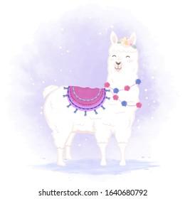 Cute Llama hand drawn cartoon illustration, watercolor background