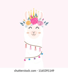 Cute llama head with flower crown.
