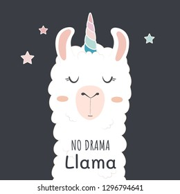 Cute llama head with unicorn horn. no drama llama motivational quote.