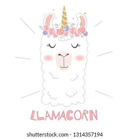 Cute llama head with unicorn horn.