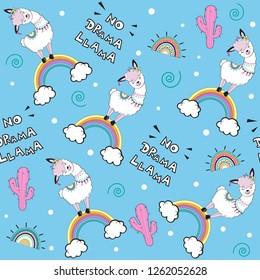 Cute llama on the rainbow and the inscription no drama llama on a blue background seamless pattern