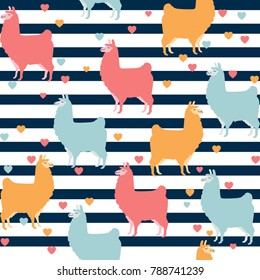Cute llama seamless pattern design - Colorful llama illustrations with lines and hearts - funny llama characters in endless pattern background