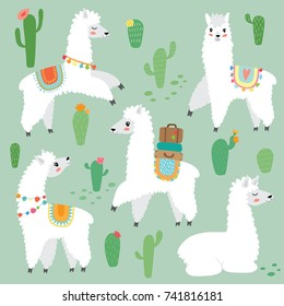 cute llama set with cactus