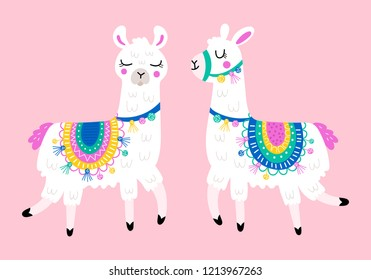 Cute llama set for design. Childish print for t-shirt, apparel, cards and nursery decoration. Vector Illustration