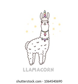 Cute llama in a unicorn costume. Llamacorn -  funny puns, unicorn and llama. It can be used for sticker, patch, phone case, poster, t-shirt, mug and other design.