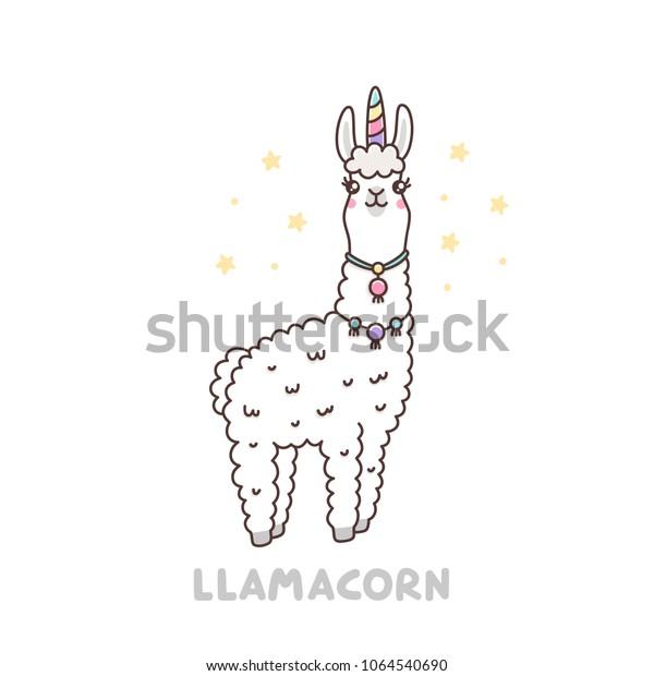 Cute Llama Unicorn Costume Llamacorn Funny Stock Vector