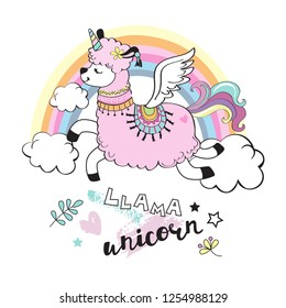Cute llama unicorn and rainbow on a white background