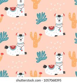 Cute Llama Vector Print. Alpaca Seamless Pattern. Cartoon Hand Drawn Illustrations. Nursery Childish Textile, wallpaper background