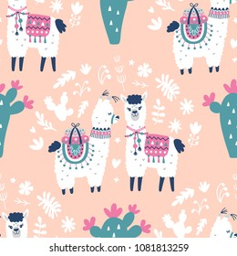 Cute Llama Vector Print. Alpaca Seamless Pattern. Cartoon Hand Drawn Illustrations. Nursery Childish Textile, wallpaper background