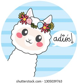 Cute llama wearing flower crown with adios text meaning bye in Spanish