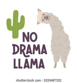 Cute llamas alpaca with cactus hand drawn cartoon poster with lettering quote. Vector Illustration design for cards, posters, t-shirts, invitations, baby shower, birthday, room decor. Np prob llama