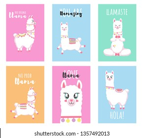 Cute llamas, alpacas  illustrations for nursery design, poster, greeting, birthday card, baby shower design and party decor
