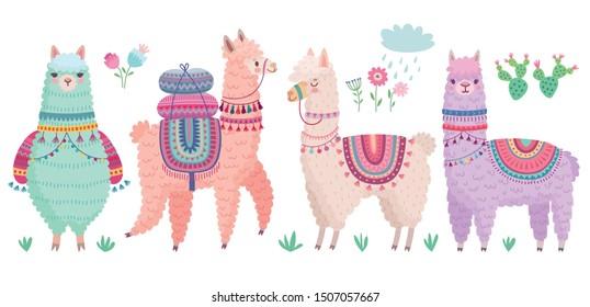 Cute Llamas. Funny hand drawn characters. Vector illustration.