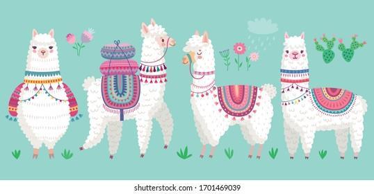 Cute Llamas. Funny hand drawn alpaca characters. Vector illustration.