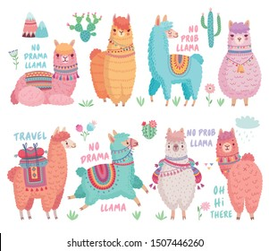 Cute Llamas with funny quotes. Funny hand drawn characters. Vector illustration.