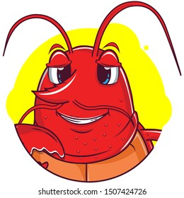 cute lobster avatar with yellow background