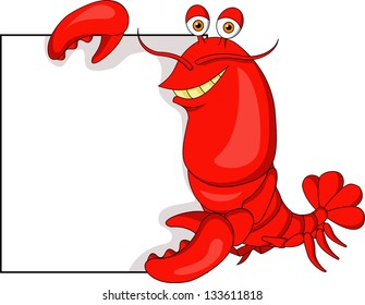 Cute Lobster with blank sign