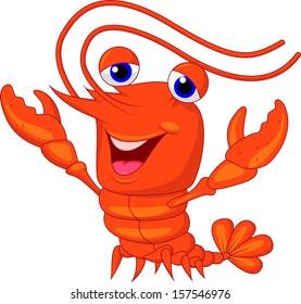 Cute lobster cartoon waving