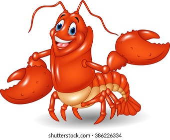 Cute lobster cartoon waving isolated on white background