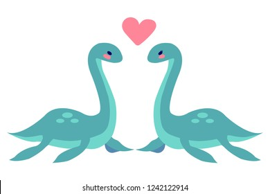 Cute Loch Nessie couple in love on wite background vector illustration flat desing