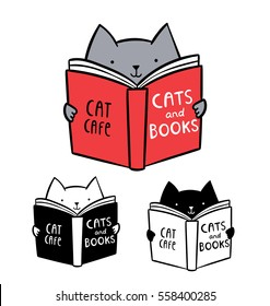 Cute logo for cat cafe. Funny kitten reading book
