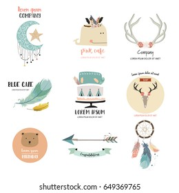 Cute logo design with moon,star,feather,bear,wild,cake,arrow and whale