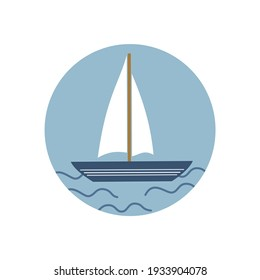 Cute logo or icon vector with sailboat in the sea, illustration on circle for social media story and highlights