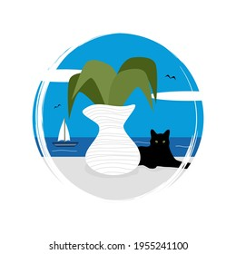 Cute logo or icon vector with sunny day greek landscape scene with cat, vase with plant and sea, illustration on circle with brush texture, for social media story and highlight