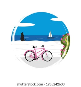Cute logo or icon vector with sunny day greek landscape scene with black cat, bicycle and sea, illustration on circle with brush texture, for social media story and highlight