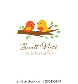 Cute logowith birds couple on the tree. Logo for wedding photographer, planner, blog, restaurante. Cute logo with birds.