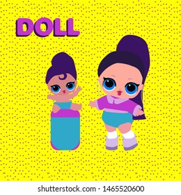 Cute LOL Doll and her child with big blue eyes and long dark hair. Funny baby girl.Vector illustration for decoration invite card on pink background. Kids LOL party decor. yellow background with dots