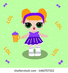 Cute LOL dolls with red hair big green eyes.Orange bottle for funny baby girl. Vector illustration for decoration invite card on green background. Lol dolls party decor. Bottle, purple dress