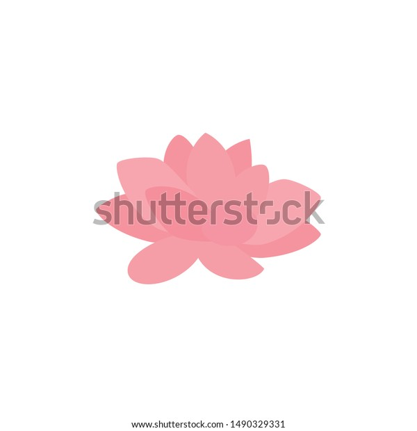 Cute Lotus Flower Isolated Icon Stock Vector Royalty Free 1490329331