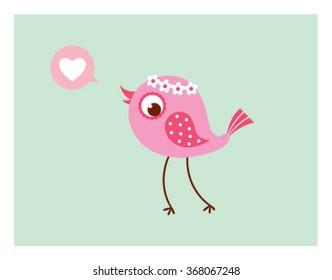 cute love bird vector illustration card