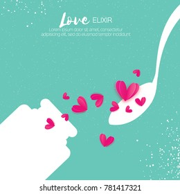 Cute Love elixir. Chemistry of love. Pink Hearts. Test tube with love fluid. Spoon. Romantic card for Happy Valentines Day. Chemical reaction. 14 February. Blue sky background.