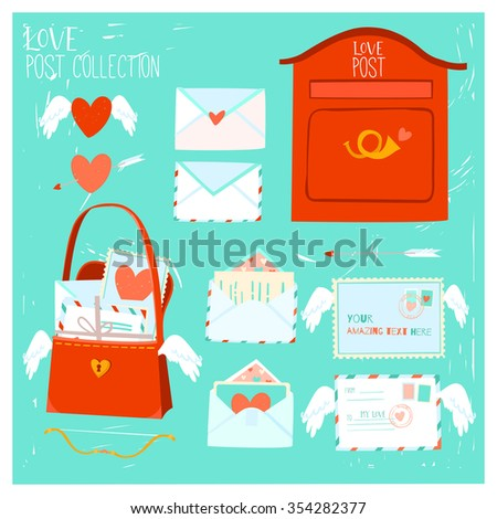 cute love letters with hearts marks and stamps romantic valentines love card can