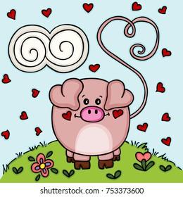 Cute love pig in the garden
