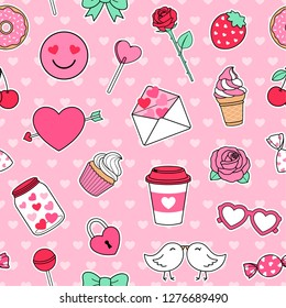 Cute love symbol elements seamless pattern background for valentine's day. Set of valentine sticker with heart background.