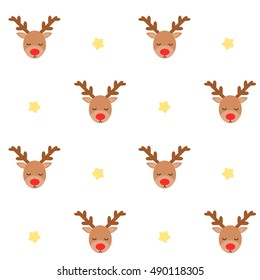 cute lovely cartoon reindeer seamless vector pattern background illustration